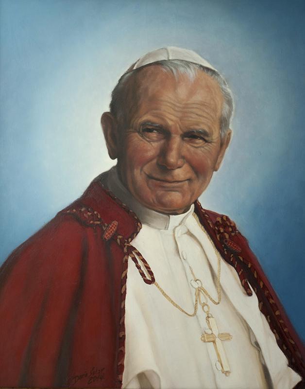 Święty Jan Paweł II Daria Solar olej plótno 40x50 na strone