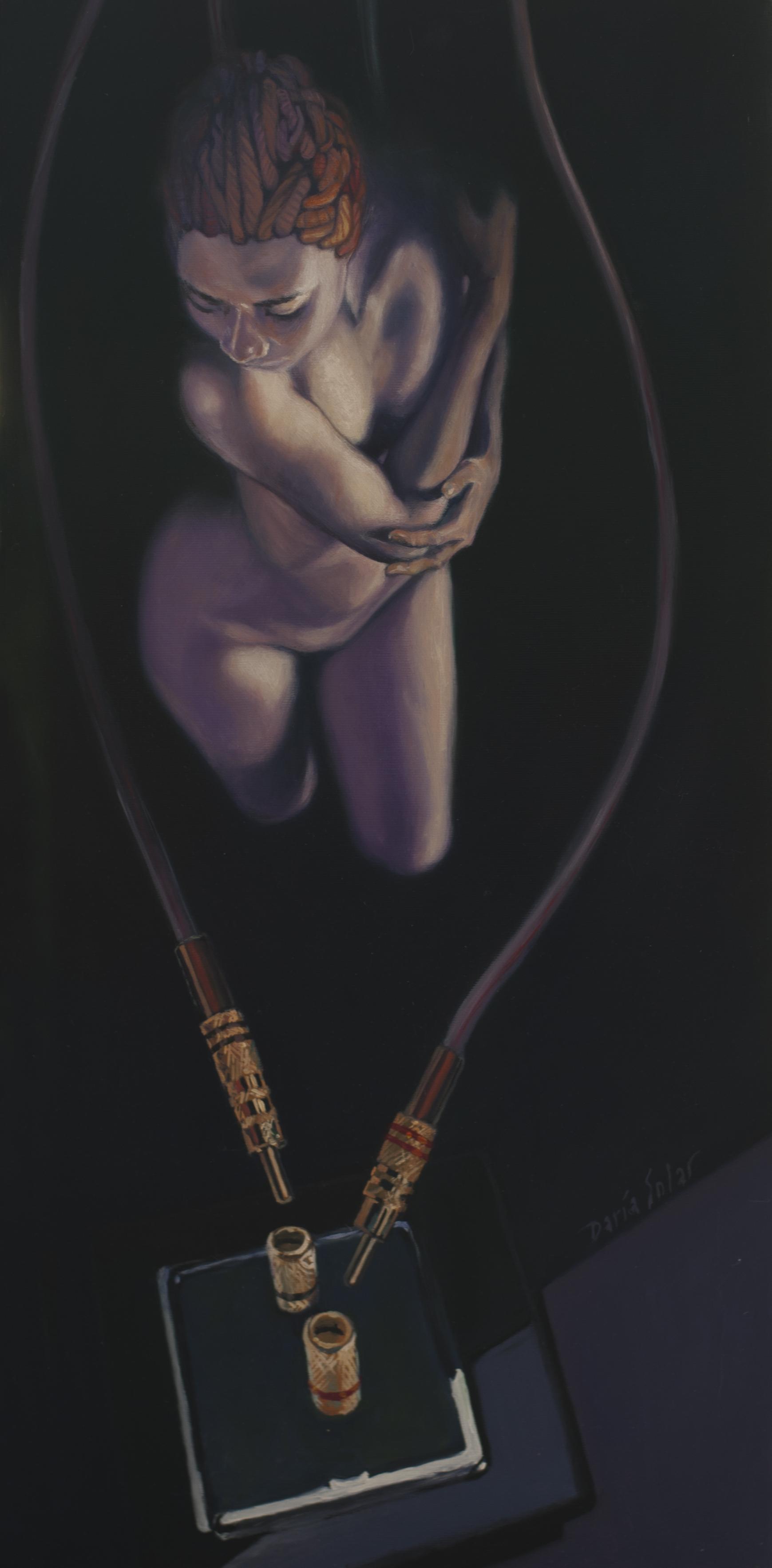 Baffled Euterpe oil on canvas 30x70 by Daria Solar