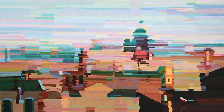 Optymiasto at dawn Daria Solar 90x45 cm oil in canvas SMALL