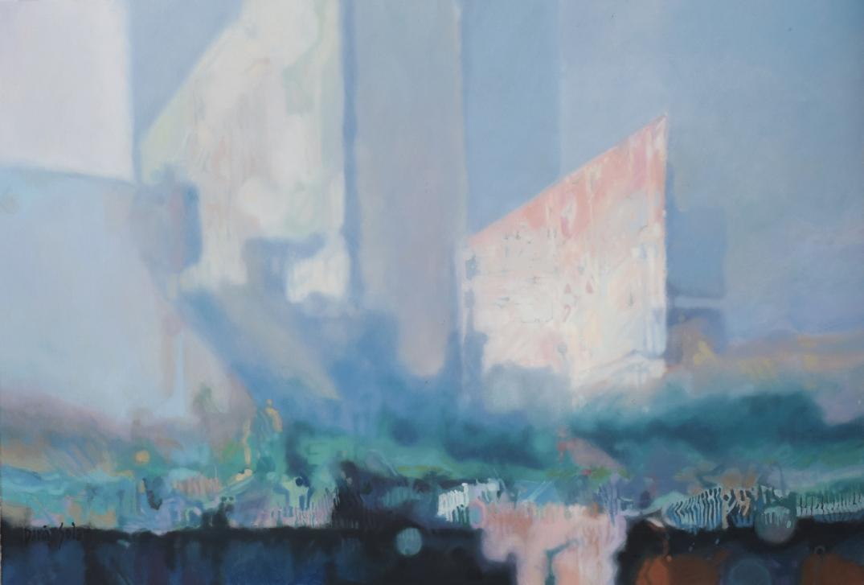 Wieżowce we Mgle Skyscrapers in the Mist daria Solar 50x70